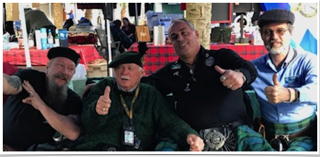 Dave Ziemer, Charlie Kehm, Chuck Franz, Doug Jamison -Clan Member. 2018 AGM Central Florida Highland Games